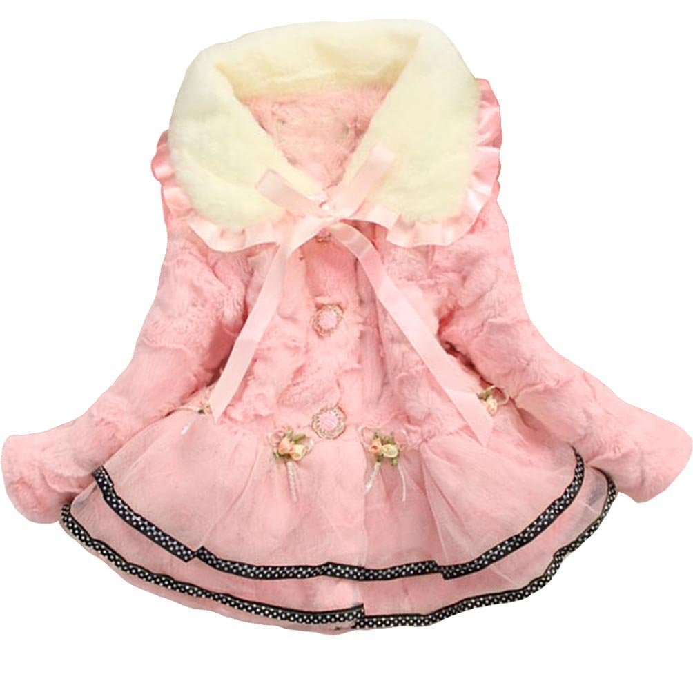 Baby Girls Kids Faux Fur Lace Warm Jacket Winter Coat Snowsuit Outwear Clothing 5T/4-5Years Pink by Dolpind (Image #1)