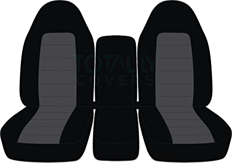 Swell Totally Covers Fits 1993 1998 Ford F 150 F 250 F 350 Two Tone Truck Seat Covers Front 40 20 40 Split Bench With Center Console Black Charcoal Machost Co Dining Chair Design Ideas Machostcouk