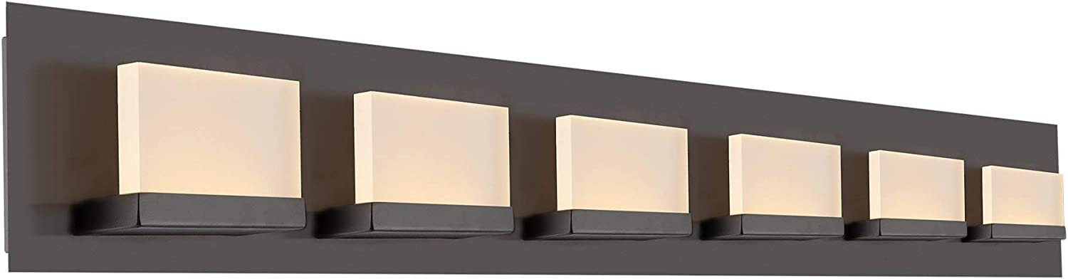 Kira Home Everett 48 Modern 6-Light 38W Integrated LED 360W eq. Bathroom Vanity Light, Rectangular Acrylic Lenses, 3000k Warm White, Oil Rubbed Bronze – May Include Minor Blemishes Inconsistencies