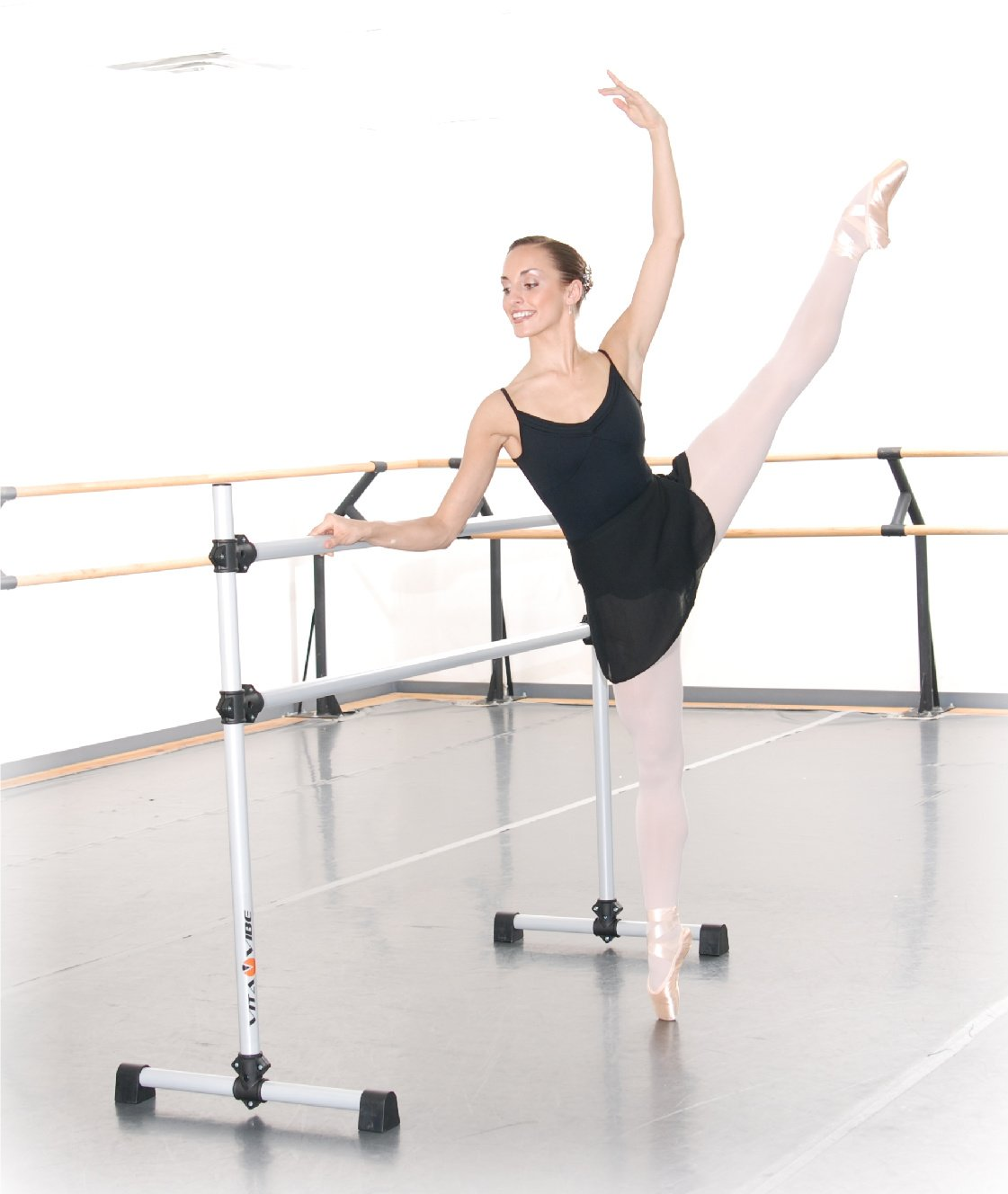 Vita Vibe BD60 Prodigy Series Portable Double Freestanding Ballet Barre, Stretch/Dance Bar, 5-Feet