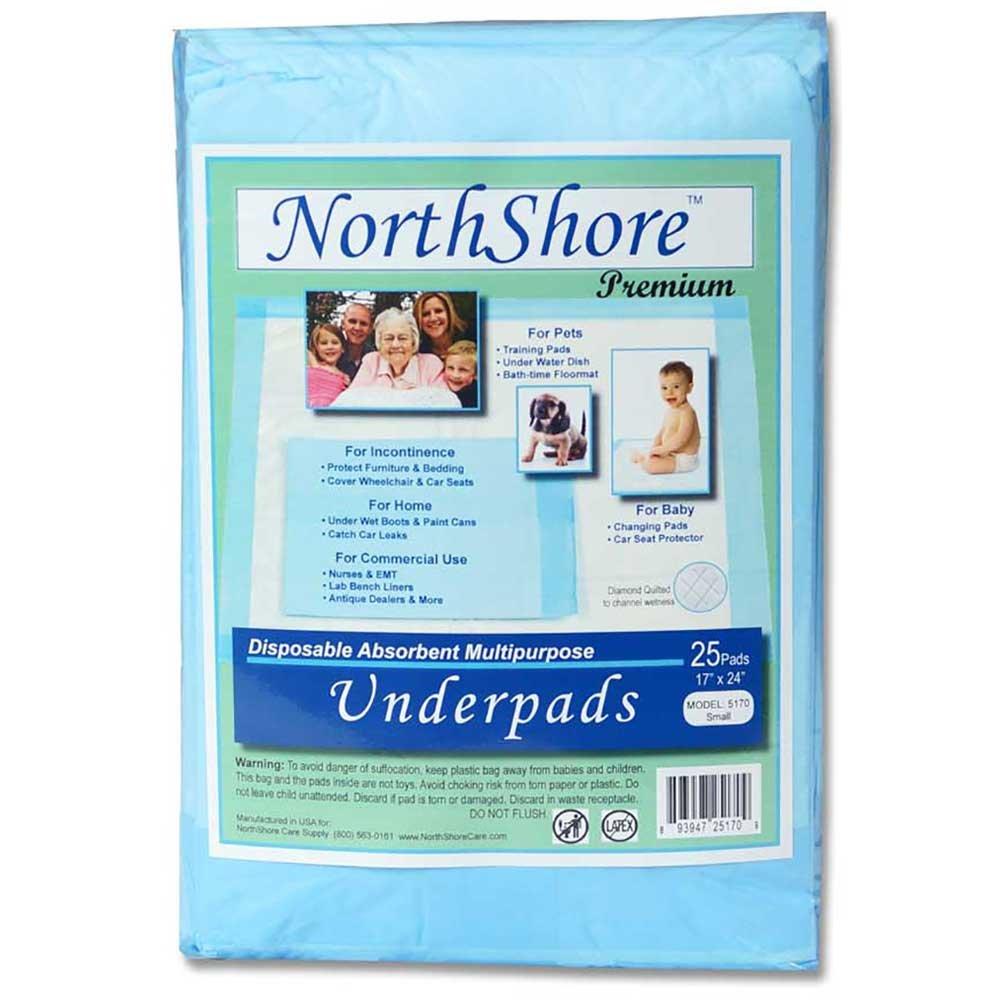 NorthShore Premium, 17 x 24, 8 oz., Blue Disposable Underpads (Chux), Small, Pack/25