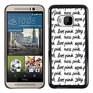 Plastic Shell Protective Case Cover || HTC One M9 || Stay Text Repetitive Black White @XPTECH