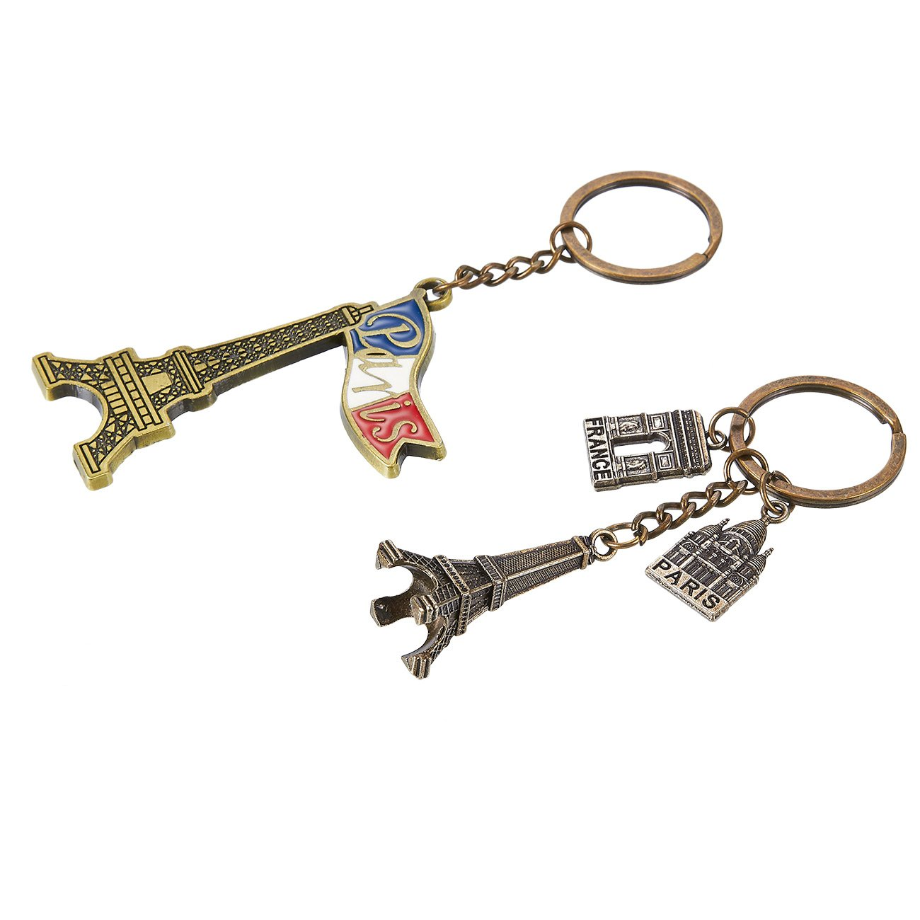 Juvale Paris Keychain - 6-Pack Souvenir Key Rings, 6 Assorted Designs Include Eiffel Tower, French Flag, and Arc de Triomphe
