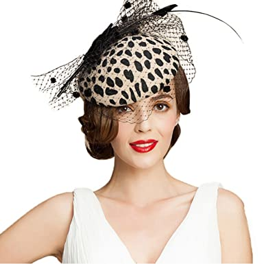a851e78f98124 Image Unavailable. Image not available for. Color  Vic Gray Women Fascinator  Pillbox Hat with Veil Leopard Bow Kentucky Derby ...