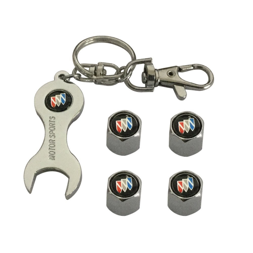 Geme 4pcs Tire Stem Valve Cap and 1pcs Wrench Keychain For Buick Car Model