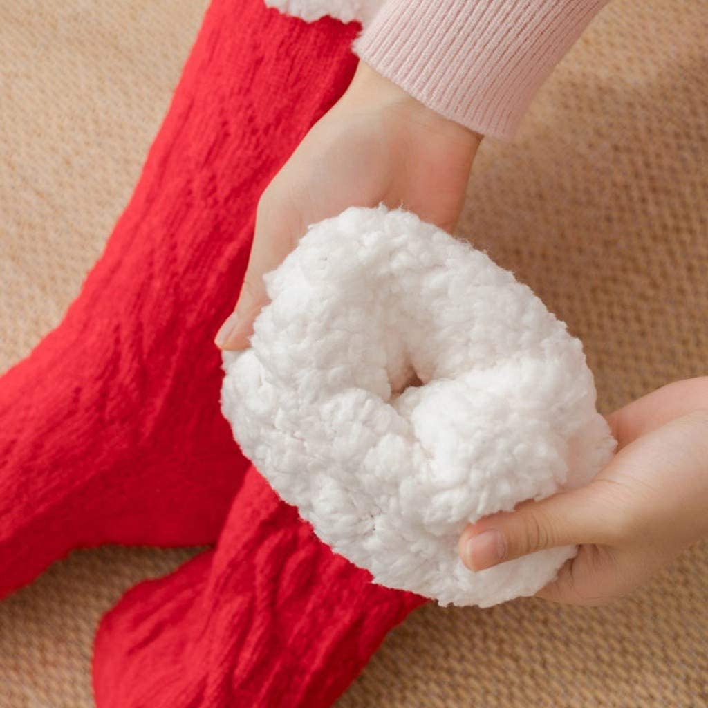 QIMANZI Flauschig Haussocken Damen Winter Baumwollsocken Solide Dicker Anti-Rutsch Bodensocken Teppichsocken
