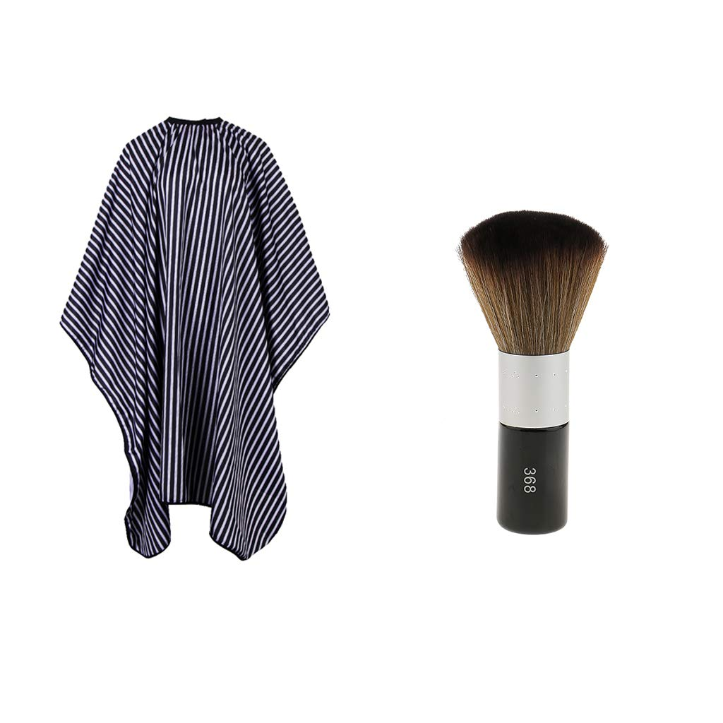 fenteer Polyester Waterproof Cloth Hairdressing Gown Cape & Nylon Soft Neck Face Beard Makeup Brush