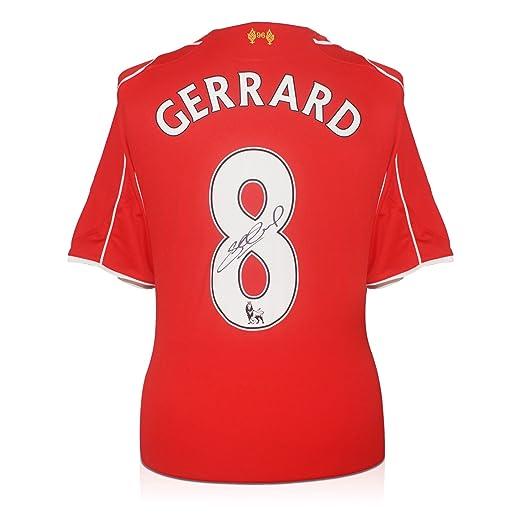 Steven Gerrard Liverpool firmada camisa casera 2014-15 En la caja de regalo   Amazon.es  Deportes y aire libre b5d4c4944040e