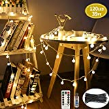 SPECOOL LED Fairy String Lights,【Remote& Timer】39FT/12M 120Leds 8 Modes Waterproof Globe Lights Decorative Lighting Perfect for Bedroom Home/Wedding/Christmas Holiday - Warm White
