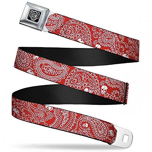 Buckle-Down Seatbelt Belt - Bandana/Skulls Red/White - 1.5