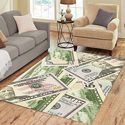 Pinbeam Area Rug Crisis Some 50 Us Dollar Bank Notes Banking Home Decor Floor Rug 3' x 5' Carpet