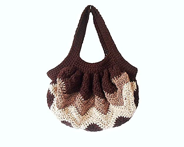 Amazon Brown Chevron Hobo Bag Boho Crochet Handbag With Zigzag Delectable Crochet Hobo Bag Pattern