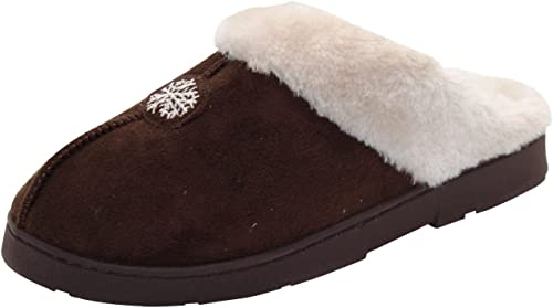 LADIES NAVY WARM LINED MULE SLIPPER WITH FUR COLLAR SIZE 4-8