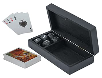 CRAFT ART INDIA Card|Box|Holder|with|Dice|and|Playing|Cards|Set|Wooden|Black|Size(Inch):1.75x6.5x3.25