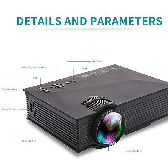 Mini proyector, 1200 lúmenes Pantalla 1080P Full HD LED proyector ...