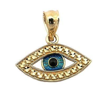 Amazon beauniq 14k yellow gold blue enamel diamond cut evil eye beauniq 14k yellow gold blue enamel diamond cut evil eye pendant aloadofball Images