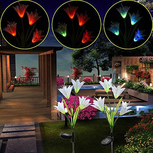 GB4 Solar Simulation Flower Light - Solar Lily 7 Color Change 4 LED Solar Flower Decoration Lawn Lamp Artificial Lantern Color Changing Light White Flowers for Patio Yard Decoration (2 Lily Lantern)