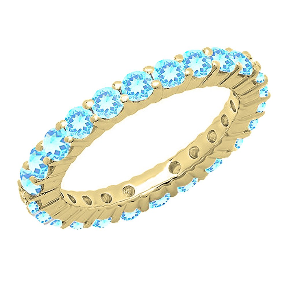 1.00 Carat (ctw) 14K Yellow Gold Round Blue Topaz Ladies Eternity Wedding Stackable Band (Size 6.5)