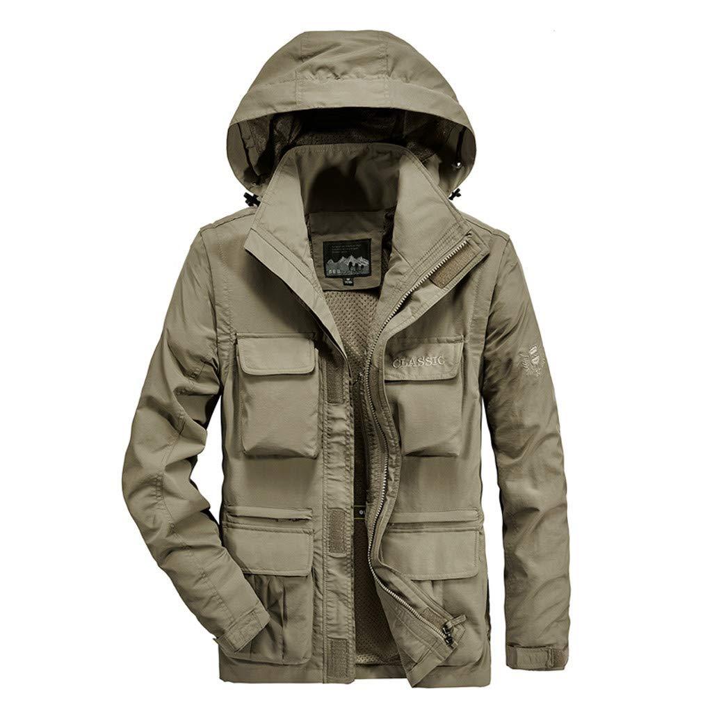 Fitfulvan Men's Outdoor Assault Mountaineering Clothes Breathable Detachable Sleeves Autumn Winter Coat Khaki