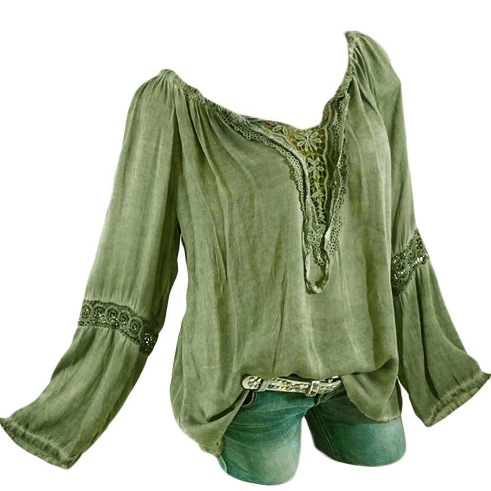 Plus Size Blouse Women Slash Neck Long Sleeves Pure Color Lace Splicing Tops Army Green