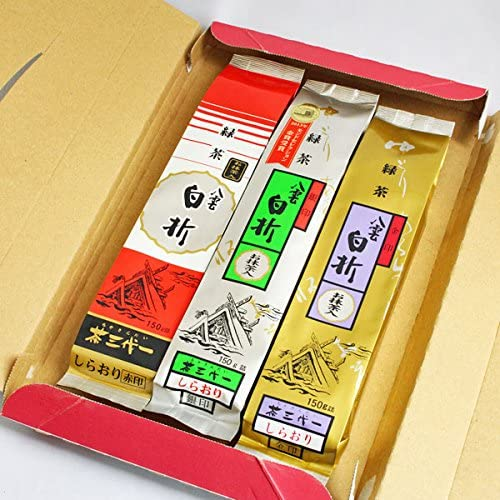 茶三代一 抹茶入り八雲白折 赤印・銀印・金印 150g × 3本詰合せ 【ご自宅用】