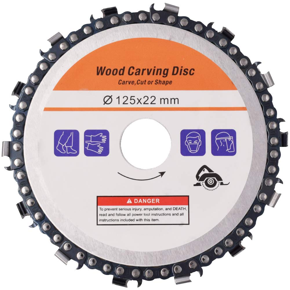BESLIME Grinder Catena Disco 5 pollici 1pcs Disco per intaglio del legno Sega a catena per utensili a disco per piastra da 125 mm