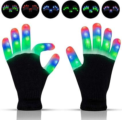 Kid LED Gloves 7 Lights Modes Finger Light Finger Christmas Party Dance Gloves