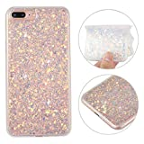 iPhone 8 Plus Bling Case, iPhone 7 Plus Soft Gel Case, Rosa Schleife Sparkle Bling Glitter Soft Acrylic TPU Bumper Phone Case Protective Cases Covers for iPhone 7 Plus/iPhone 8 Plus - Purple