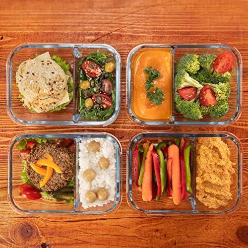 4-er Set Frischhaltedosen Glas Aufbewahrungsbox Auslaufsicher Lunchbox Meal-Prep-Box Gefrierdosen 2 Luftdichte F/ächer Brotzeitdose Bento Box aus Glas BPA-frei Vorratsbeh/älter Gr/ö/ße XL 1040 mL