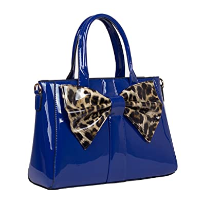 Womens Office Designer Handbag Faux Leather Celebrity Tote Ladies Shoulder  Bag (Blue Leopard) 6e4ba1351a94a