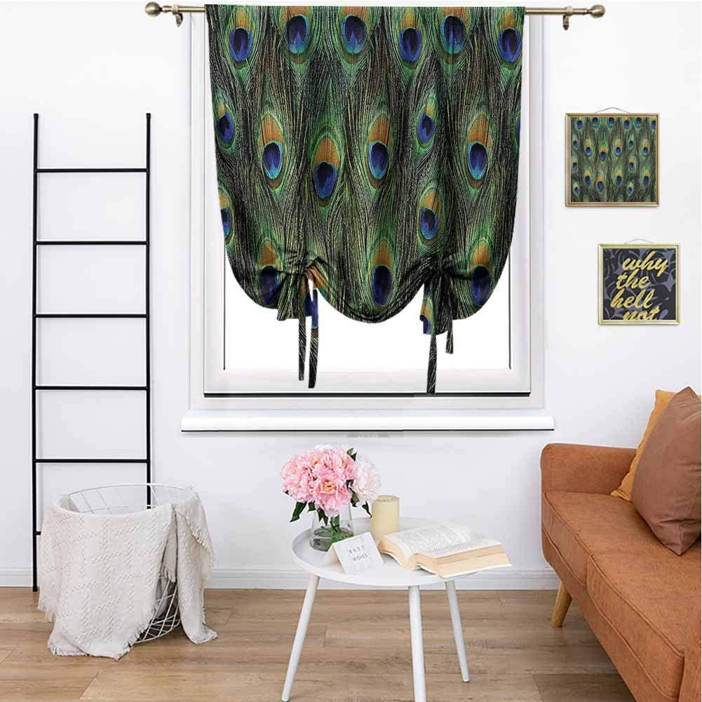 """cashewii Peacock Decor Tie Up Shade Window Stunning Peacock Tail Feathers Tropical Exotic Animals Close up Picture Artwork Full Light Blocking Drapes for Home 48"""" x 64"""" Green Mustard Navy"""
