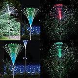 Transer 2pc Solar Fiber Lawn Lamp LED Outdoor Decorative Lawn Lights Colorful Disc Fiber (Multicolor)