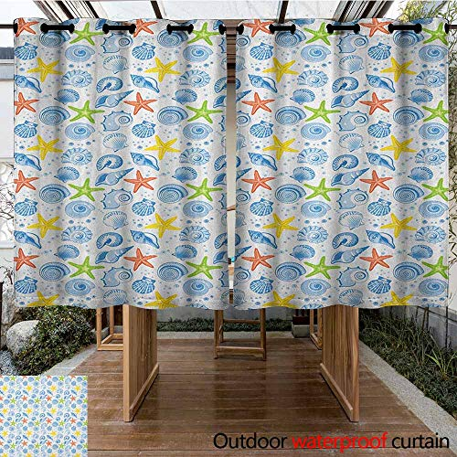 AndyTours Pergola Curtain,Nautical,Marine Themed Starfish Mollusk Coral Reef Shells Oyster Underwater Design,for Porch&Beach&Patio,K160C160 Blue and Yellow
