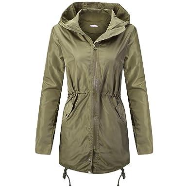 bde3ba82aed Wonvatu Womens Rain Jacket Waterproof with Hood Lightweight Rain Trench  Coat Long Sleeve Black Windbreaker for