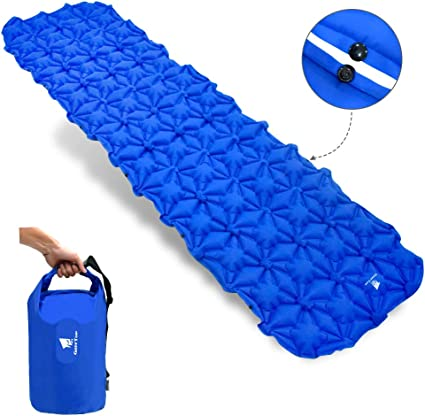 Ultralight Camping Mattress with Pillow Inflatable Sleeping Mat Pad Waterproof Leak-proof Inflating Single Bed Portable Air Pad Mat for Backpacking,Camping,Travel