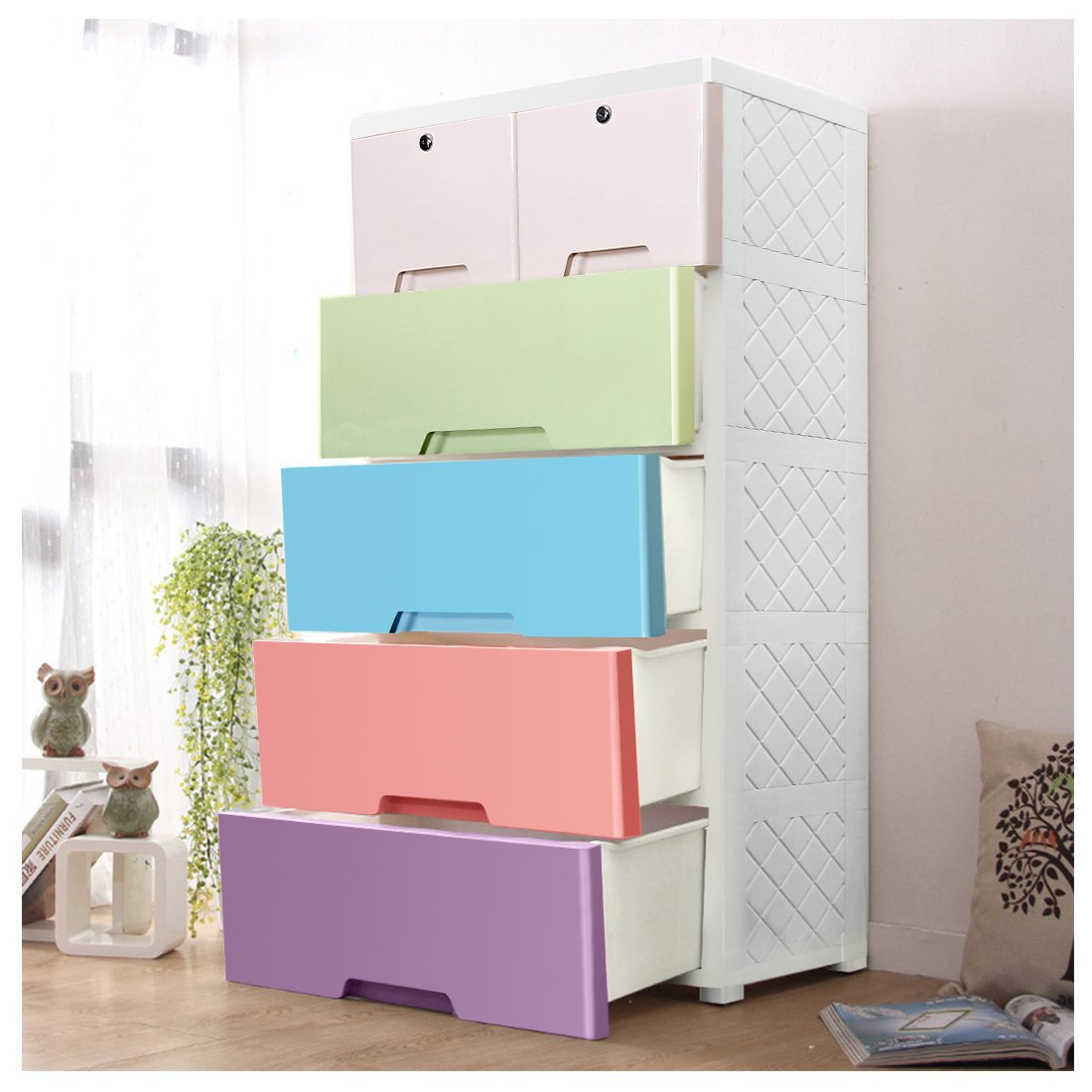 YUTING Children's Wardrobe With-4Drawers And 2 Storages Cabinet. Plastic Thicker Drawer Wardrobe.Easy Assembly!