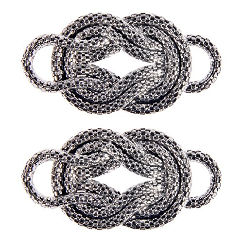 Mibo ABS Metal Plated Decorative Ornament Interlock Rope Design Non Functional Antique Silver 2 Pack - Belt Buckles Clothing Accessories