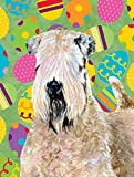 Caroline's Treasures SS4838CHF Wheaten Terrier Soft Coated Easter Eggtravaganza Flag Canvas, Large, Multicolor