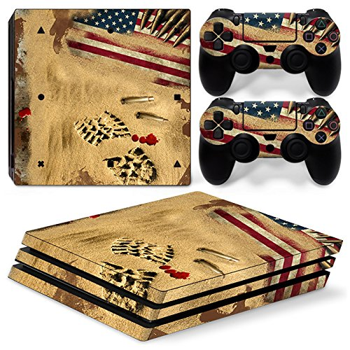 ZoomHit Ps4 PRO Playstation 4 Console Skin Decal Sticker Desert War USA + 2 Controller Skins Set (Pro Only)