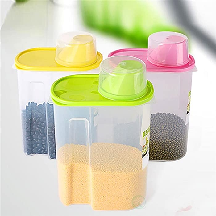 Basicwise Large BPA -Free Plastic Food Saver, Kitchen Food Cereal Storage Containers with Graduated Cap, Set of 3, Pink, Green, and Yellow