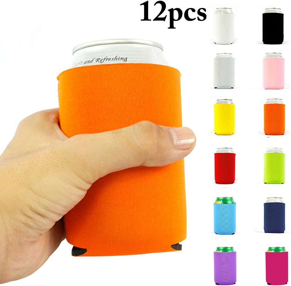 Outgeek Enfriadora de Latas, 12PCS Can Sleeve Neopreno Plegable con Aislamiento Soda Botella Holder Partido Plegable Cubrela Funda Cooler Sleeve