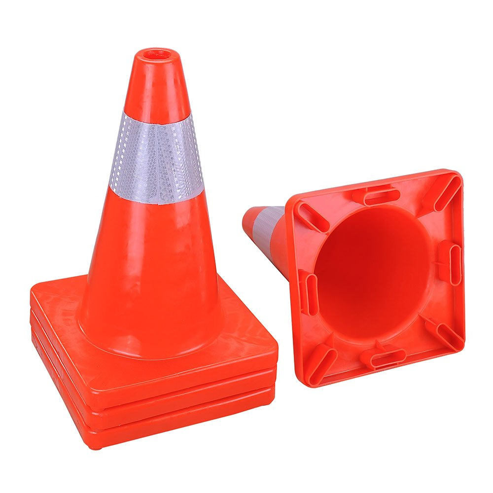 Yescom 17'' Height Red PVC Safety Plastic Traffic Cones w/Reflective Strips Collar Set of 4pcs