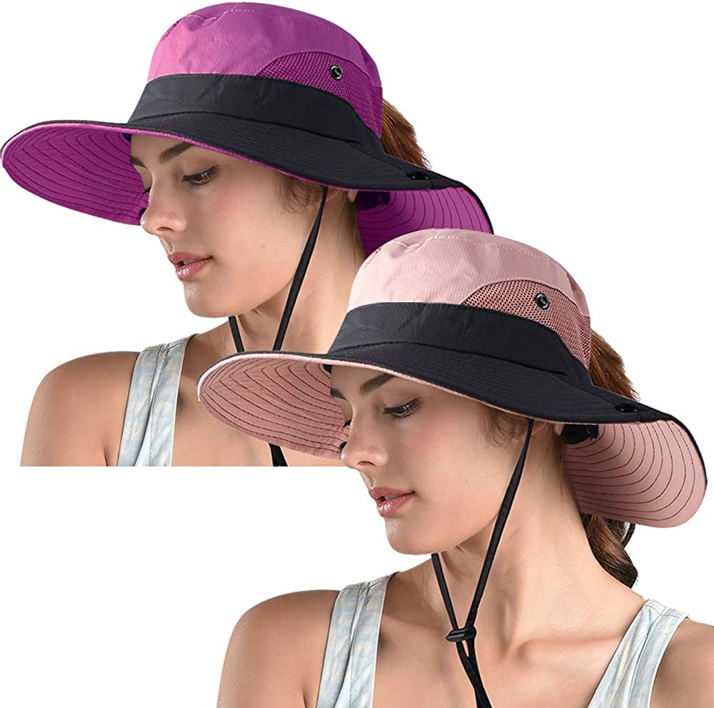 Womens Outdoor Sun Hat Boonie UV Protection Wide Brim Mesh Fishing Hiking Ponytail Hole