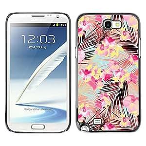Be Good Phone Accessory // Dura Cáscara cubierta Protectora Caso Carcasa Funda de Protección para Samsung Note 2 N7100 // Pink Palm Leaves Pattern Teal Flowers