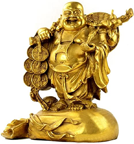 Fengshui Buddha Statues For Lucky Happiness Laughing Buddha Figurines Sculptures Carrying Money Bag God Of Wealth Statue Home Decor Housewarming Congratulatory Gifts Small Home Kitchen