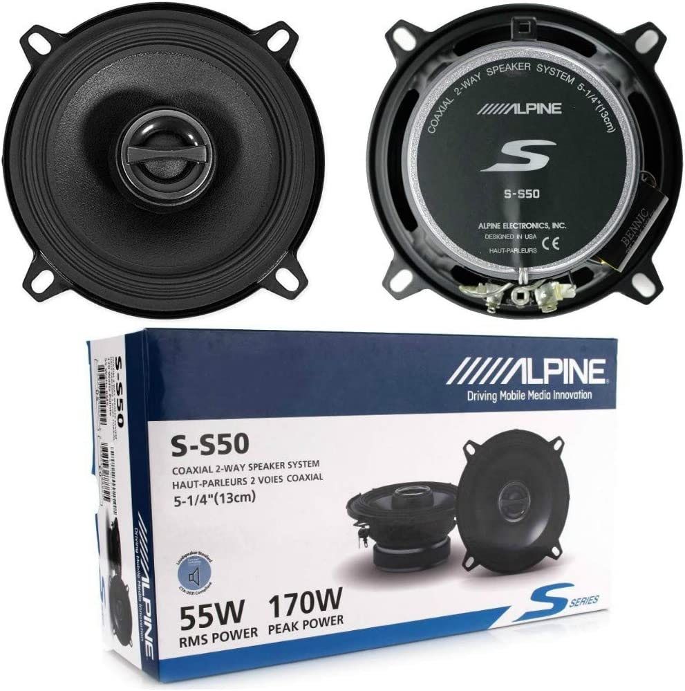 2 Altavoces coaxiales de 2 v/ías Compatible con Alpine S-S50 5.25 13.00 cm 130 mm 55 vatios rms 170 vatios m/áx 4 ohmios 87 db spl Coche por par