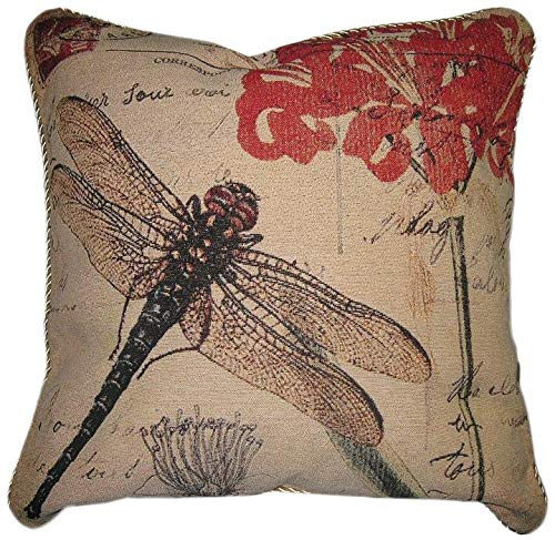 "(DaDa Bedding Throw Pillow Covers - Set of 2 Elegant Dragonfly Dreams - Novelty Tapestry Woven Cushion Cases - 18"" x 18"" (15041))"