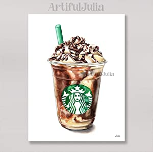 Starbucks art print of watercolor painting, (NO FRAME), 5