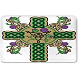 Memory Foam Bath Mat,Celtic,Celtic Knot Design Christian Cross Icon Wreath Flowers Retro Floral Welsh PatternPlush Wanderlust Bathroom Decor Mat Rug Carpet with Anti-Slip Backing,Mustard Green