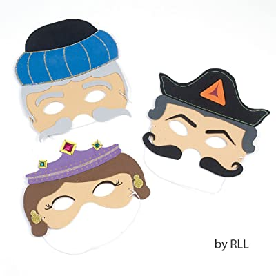 Amazing Foam Purim Masks Set of 3 - Esther, Haman & Mordechai: Home & Kitchen